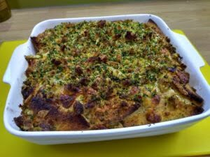 Leftover bread recipe - savoury bread and butter pudding